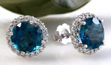 4.55ct Natural London Blue Topaz and Diamond 14K White Gold Earrings