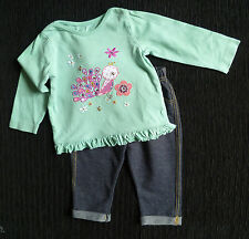 Baby clothes GIRL 6-9m outfit aqua peacock/bird sequins top/denim-look leggings