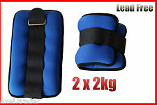 2 x 2kg (4kg) ANKLE WEIGHTS GYM EQUIPMENT WRIST FITNESS YOGA TRAINING WEIGHTS
