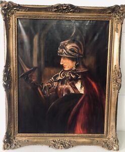"""Large 42"""" Rembrandt """"A Man in Armour"""" German - Vintage Artist Signed copy Framed"""