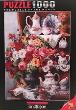 Jigsaw Puzzle Family Treasures Roses & Tea Set 1000 Pieces Premium quality