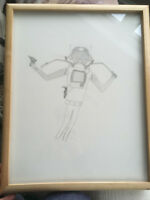 Vintage Mid Century Mod Space Age Astronaut Frog Man Abstract Pencil Drawing