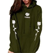 Women's Hoodie Sweatshirt Jumper Sweater Hooded Pullover Coat Tops flower Jacket