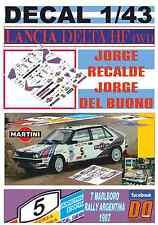 DECAL 1/43 LANCIA DELTA HF 4WD JORGE RECALDE R.ARGENTINA 1987 2nd (01)