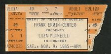 Liza Minnelli 1985 Concert Ticket Stub Erwin Center Dallas Texas