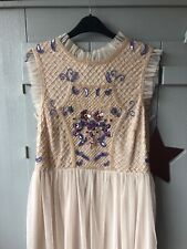 New!!! FROCK AND FRILL blush Beaded Dress Size 12 Just Over The Knee