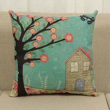 Vintage Flower Tree Pillow Cases Waist Throw Cushion Cover Sofa Car Decoration