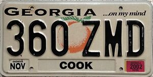 Georgia Peach COOK County American License Licence USA Number Plate 360 ZMD