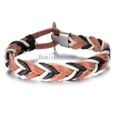 Black Brown White Braided Leather Cord Bracelet Wristband for Men Women Gifts