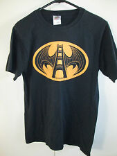 Fruit of the Loom T-shirt Size S Black Batman Theme Logo Cotton Short Sleeve