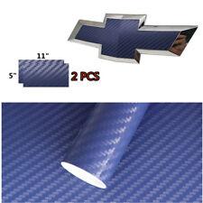 2 PCS Blue CARBON FIBER Chevy Bowtie Emblem Overlay Sheets Vinyl Decal Wrap