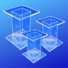 Small Acrylic Pedestal Set - 3 Display Pedestal Risers - Free Shipping