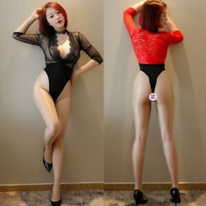 Women Cut Playsuit Lingerie Nightwear Sexy Deep V Neck Romper Open Chest High