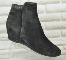 CAMPER Alicante Womens Black Leather Ankle Wedge Boots Shoes Size 7.5 UK 41 EU
