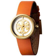 TORY BURCH Reva Orange Leather Gold Tone Watch   #TB4001   NEW