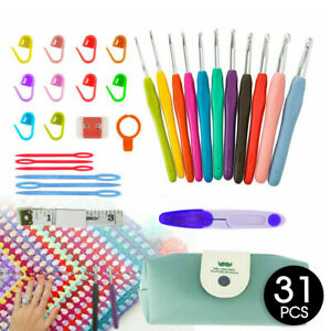 31Pcs Crochet Hook Knitting Needles Set With Bag Soft handle s Sewing Tools Grip