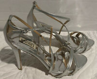 Badgley Mischka Women's Size 9M Metallic Silver Peep Toe Pumps Heels Strappy