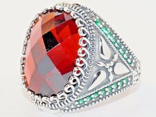 925 Sterling Silver Men's Ring with Absolutely Handmade Real Ruby and Emerald