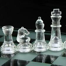 Glass Chess Set Elegant Pieces and Checker Board Game Frosted CL C White Z1M6