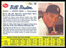 1962 POST BASEBALL CANADIAN #18 BILL BRUTON VG-EX DETROIT TIGERS CARD