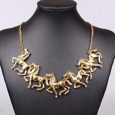 Pferde Pferd Kette Halskette Collier Design Statementkette Gold plattiert  neu