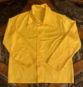 Boys Yellow Shirt Button Snap Up Long Sleeve Curtain Call Nylon Collar Sz 7 / 8