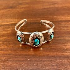 NAVAJO TURQUOISE & STERLING SILVER CUFF BRACELET: TRADITIONAL STAMP PATTERN 53g