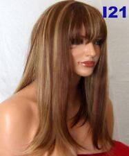 FULL WOMENS LADIES LONG FASHION COSTUME HIGHLIGHT BROWN BLONDE BLACK RED WIGS UK