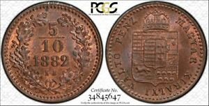 1882 KB MS64 RB Hungary 5/10 Krajczar PCGS KM 468 Franz JosephMagyar