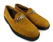 Fratelli PSF Men Tan Suede Leather Loafer Horse Bit SZ 9 M Casual Business Shoes