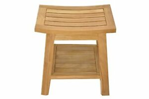 "Grade-A Teak Wood Barcelona Shower Seat 18"" Stool Bench Outdoor Patio"