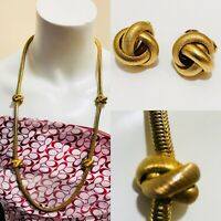 """Vintage Freirich Gold Tone Fancy Link Chain Long Necklace 30"""" With Monet Earring"""