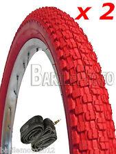 N°2 Copertone / Pneumatico 20 x 1.95 + N°2 CAMERA D'ARIA BICI MTB - BMX ROSSO