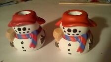 Colonial Candle of Cape Cod Snowman Candle Holder Set of 2