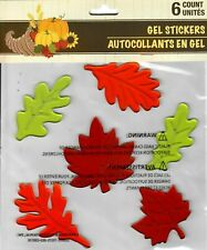 NEW Fall Autumn Maple Leaves Thanksgiving 6 pc Window Gel Clings Decorations!