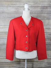 Pendleton Blazer Size 10 Vintage Womens Red 100% Wool Button Up Cropped Jacket