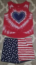HEART Clothes LOT Girls Shirt Tank TOP American Flag Shorts Size 3 3T 5 5T NEW