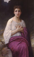 """Nice Oil painting Bouguereau - Psyche beautiful young fairy seated in forest 36"""""""