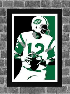 New York Jets Joe Namath Portrait Sports Print Art 11x17