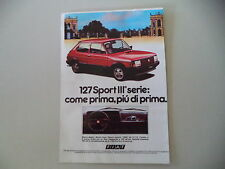 advertising Pubblicità 1982 FIAT 127 SPORT III SERIE