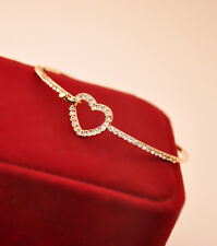 Fashion Gold Plated Charm Love Heart Crystal Bangle  Bracelet Jewelry for Women