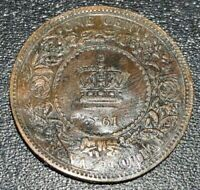 1861 Canada Nova Scotia 1 Cent SMALL ROSEBUD KM# 8.2 RARE Variety