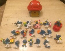 Vintage 1970s 1980 Schleich Peyo West Germany Smurf 17 Figure Mushroom House Lot