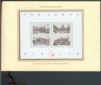 Berlin Offizielles Gedenkblatt 750 Jahre Berlin mit Block 8 (772/775 und 776**)