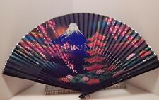Vintage Japanese Folding Fan with Original Box, Lacquered Ends, Hand Painted