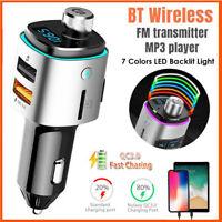 Wireless Bluetooth Handsfree Car Kit FM Transmitter 4.0A USB Charger MP3 Player