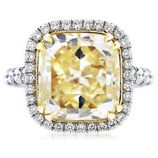 Platinum Fancy Yellow 4.28 CT GIA Certified Cushion Cut Diamond Engagement Ring