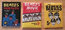 SET OF 3 THE BEATLES PACK GUM CARDS BAZOOKA, BEATLES MOVIE,BUBBLE GUM,COLOR PHOT
