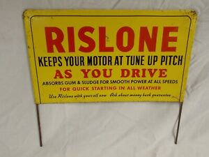 """Vtg RISLONE Oil  Additive Double-Sided Metal Display Rack Sign~ 10¾"""" X 9¾"""""""
