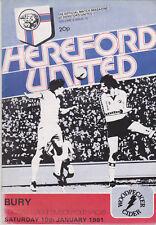 Programma / Programme Hereford United v Bury FC 10-01-1981